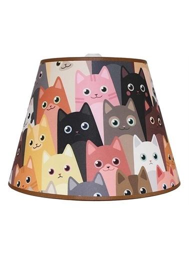 Şenay Aydınlatma Çocuk Odası Konik Kumaş Avize Sarkıt-Kahverengi Sevimli Kediler Renkli